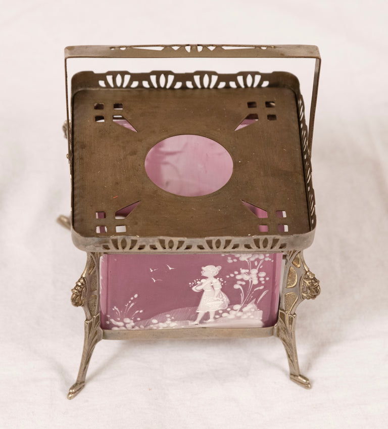 Mary Gregory Hand-Painted Pink Tea Warmer