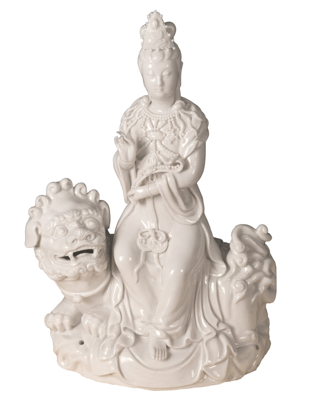 Blanc de Chine (Dehua) Porcelain Figural Group of Quan Yin on Foo Dog or Temple