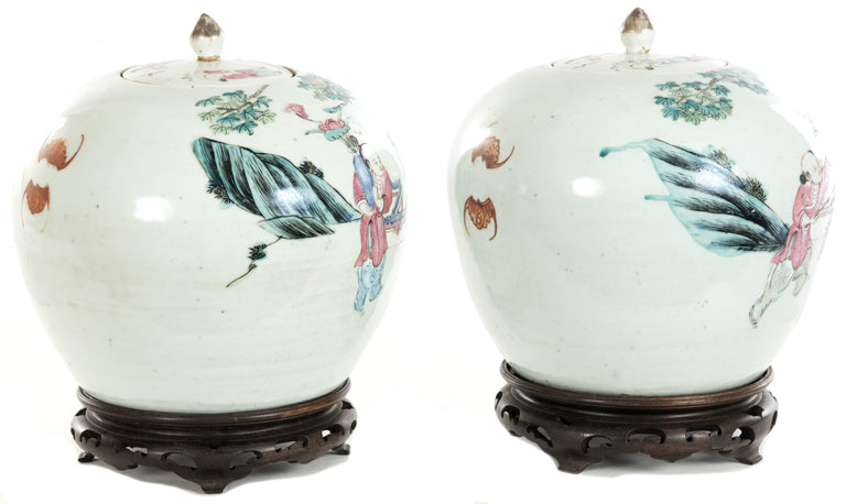 A Pair of 19th Century Chinese Famille Rose Ovoid Ginger Jars
