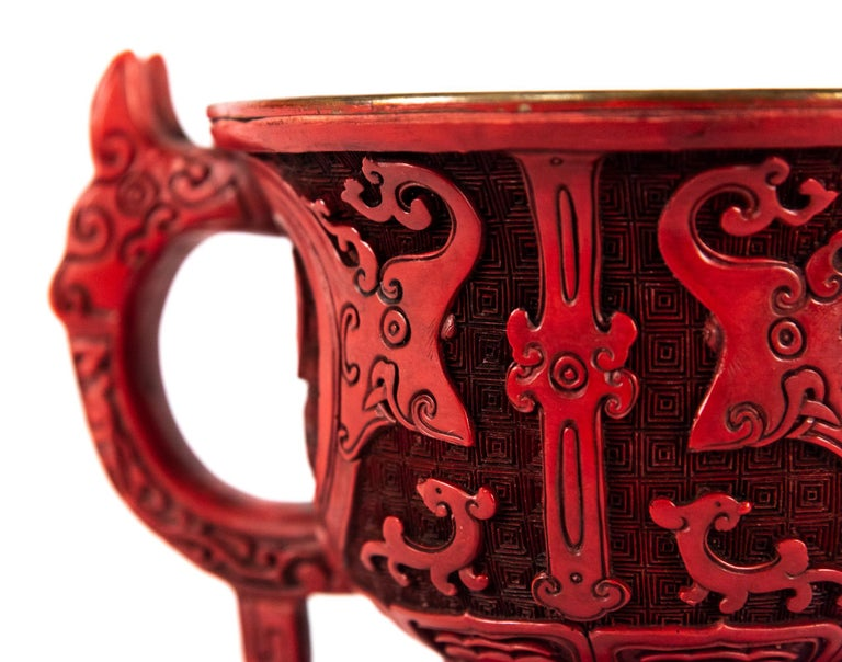 Unusual 19th Century Chinese Gui Form Cinnabar Lacquer Censer