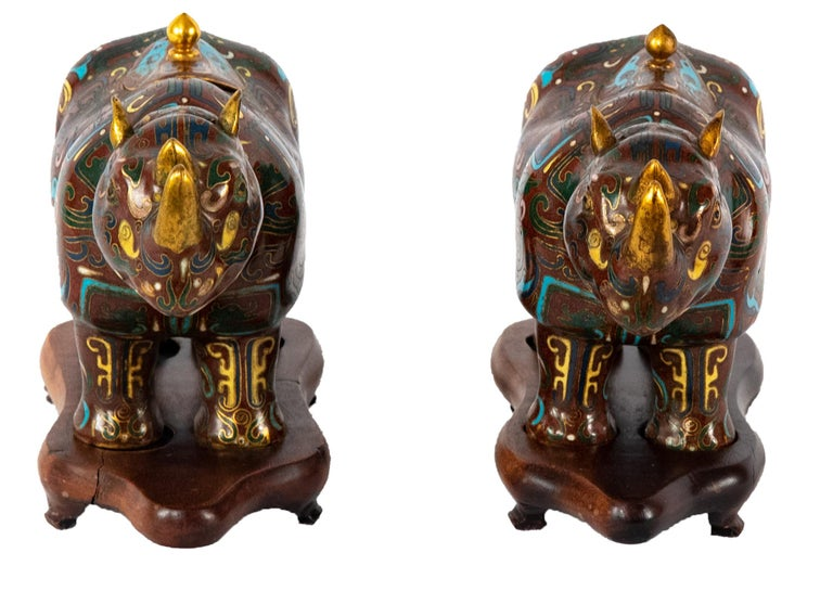 Pair of Chinese Cloisonné Rhinoceros-form Water Pots, Qing Dynasty