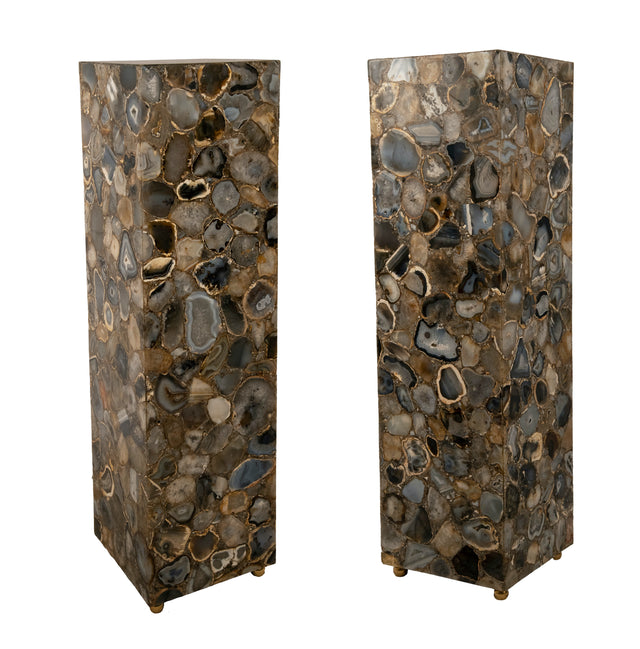 Pair of Agate Pedestals with Interior Illumination