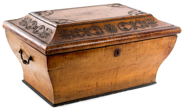 A large Moroccan satinwood box with metal inlay