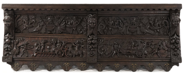 Carved Oak Shelf with Harvest Imagery