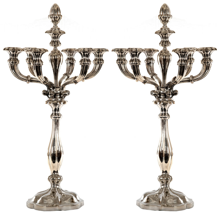 Pair of Silver Tiffany Six-Light Candelabra