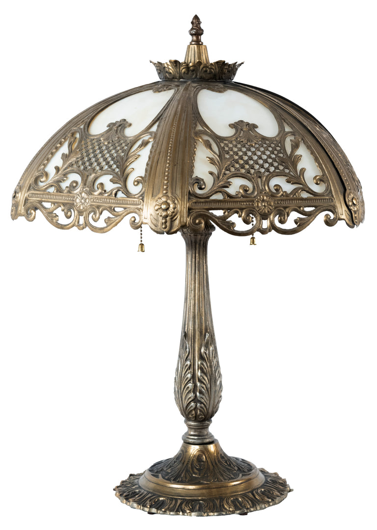 Cast Metal and Slag Glass Table Lamp