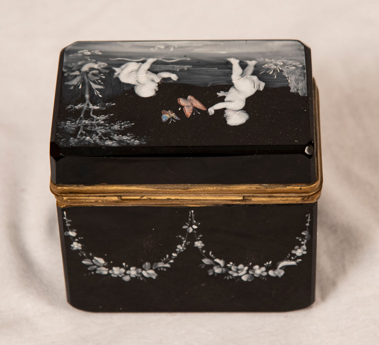 Mary Gregory Enamel Decorated Black Glass Box