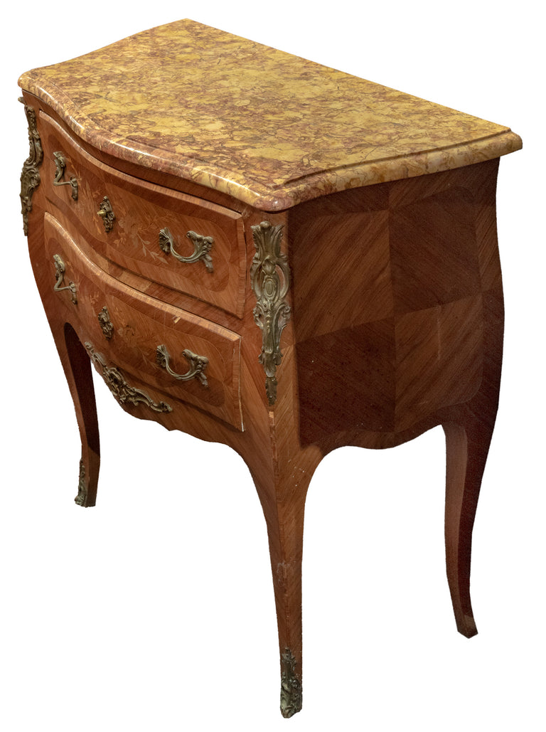 French Louis XV Style Marquetry Commode