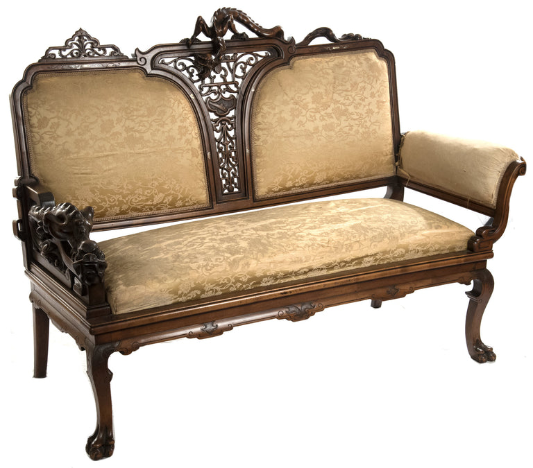 French Chinoiserie Carved Walnut and Silk Upholstered Seating Set