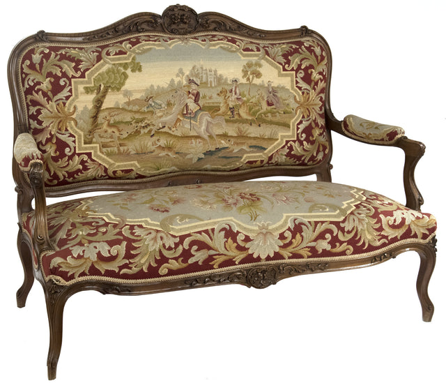 Louis XVI Style Carved Walnut Tapestry Sofa