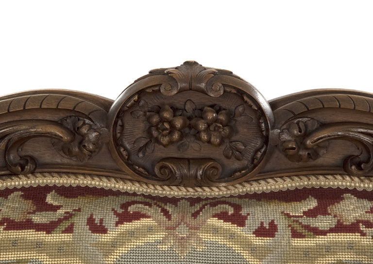 Louis XV Style Carved Walnut Tapestry Sofa