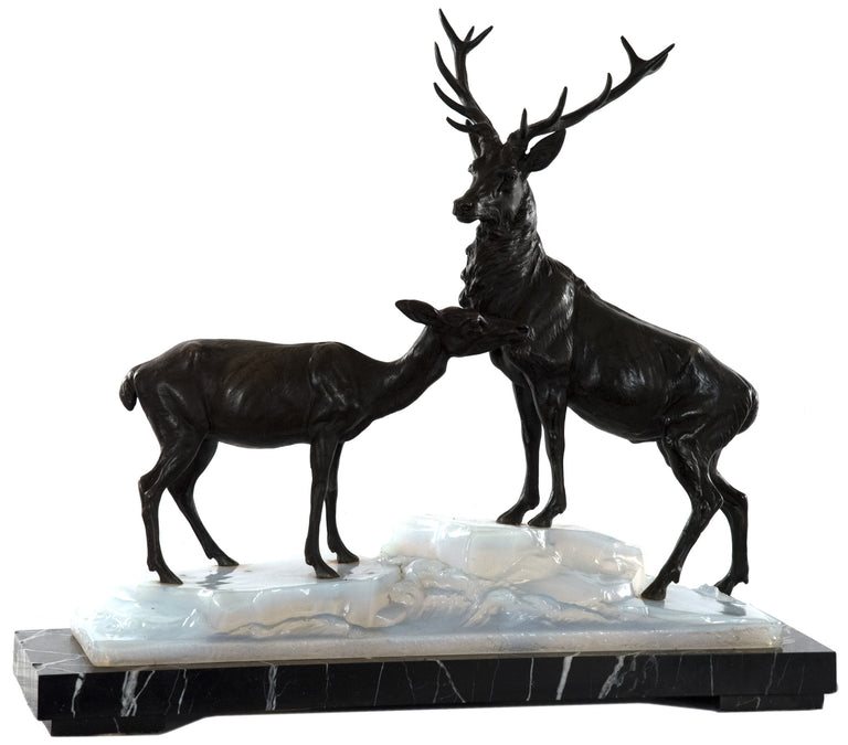 Bronze and Marble Stag and Doe Lamp after Louis-Albert Carvin