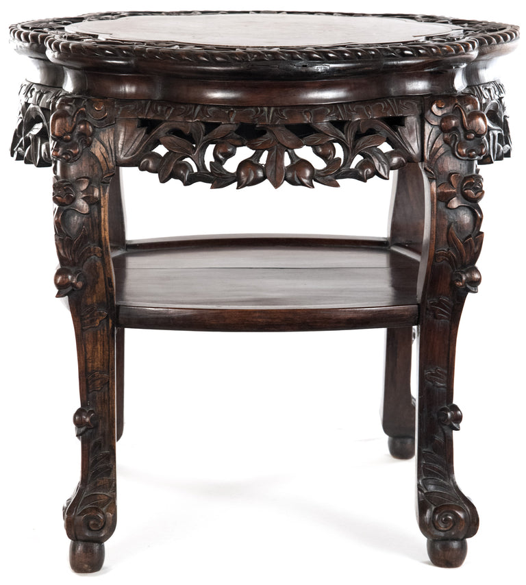 Chinese Carved Rosewood and Marble Captured-top Console Table