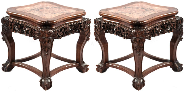 Pair of marble captured top Chinese stands (C. 1900)