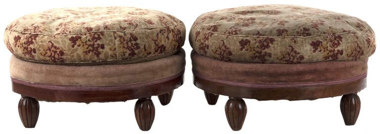 Pair of Round Upholstered Cushion Stools