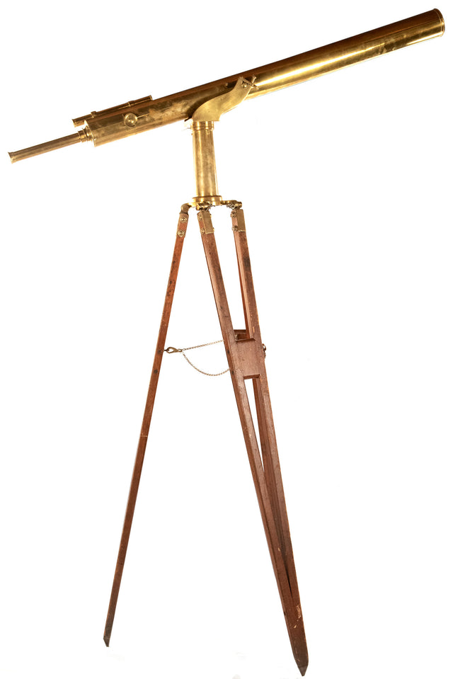 A nineteenth-century brass telescope with original wooden tripod stand (c. 1890)