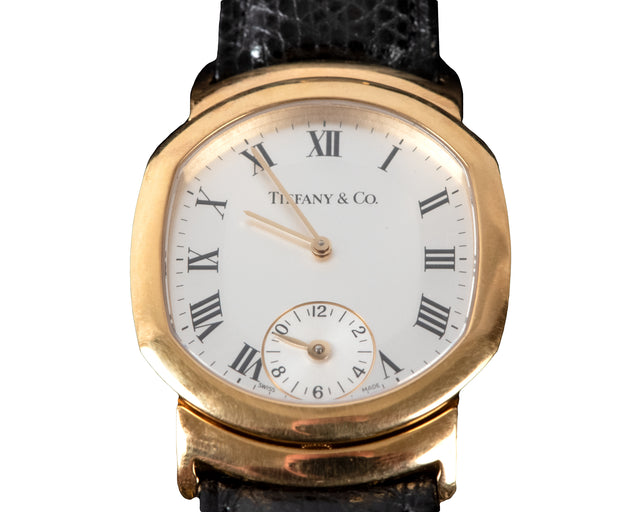 18-Karat Yellow Gold Tiffany & Co. Dual-Time Tonneau-Shaped Wristwatch
