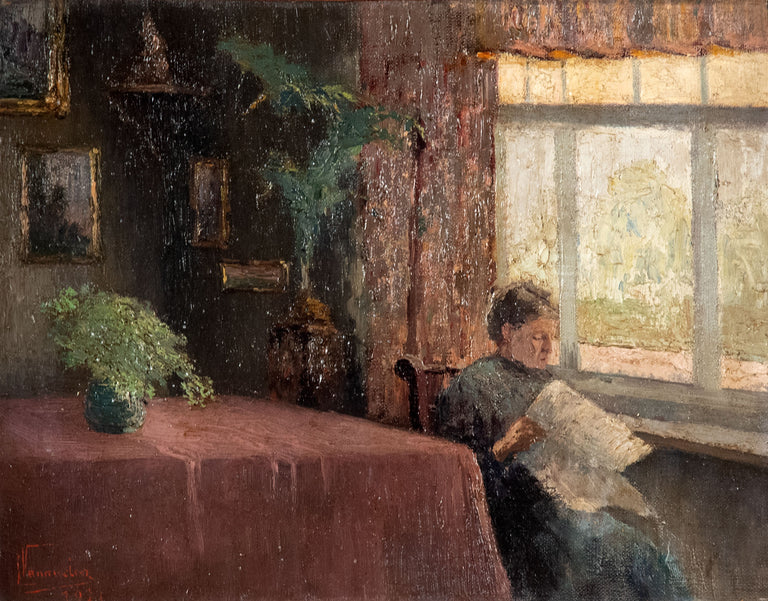 Woman Reading at the Window, 1927 by Léon Vanneaten