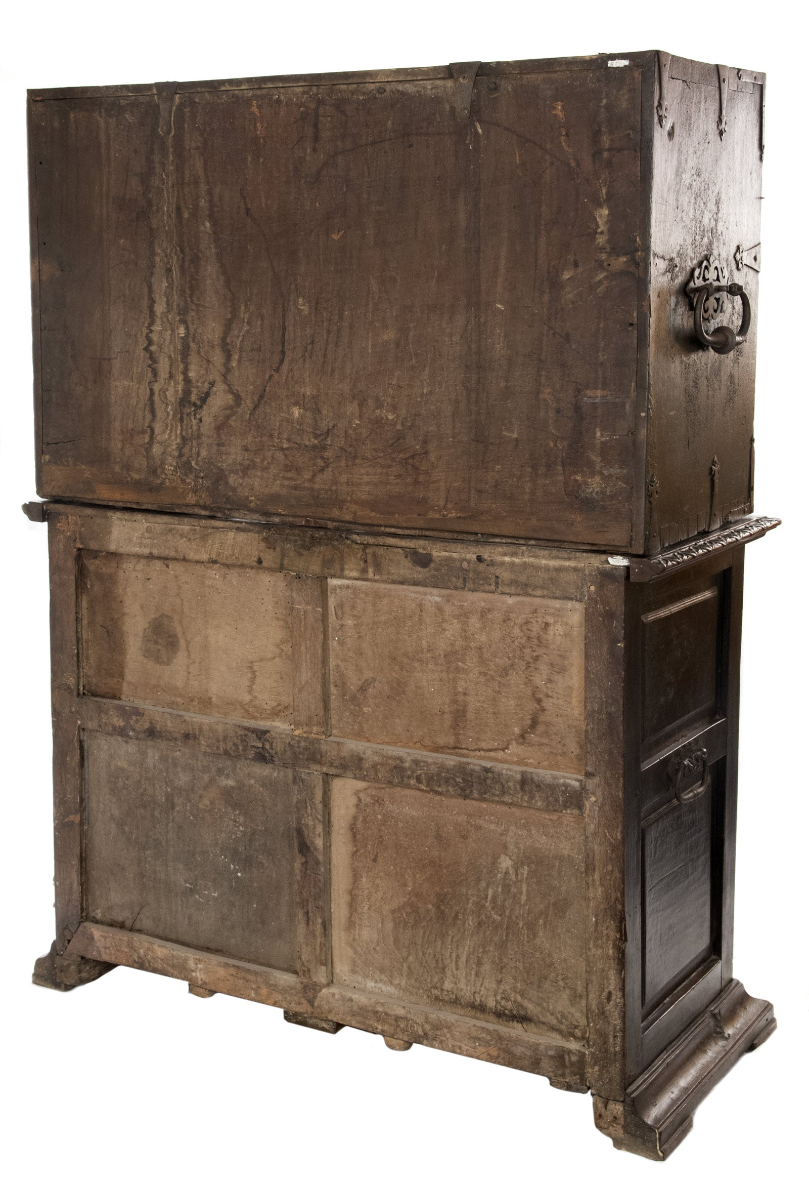 16th Century Spanish Vargue o Cabinet with Limoges Enamel Drawer Fronts