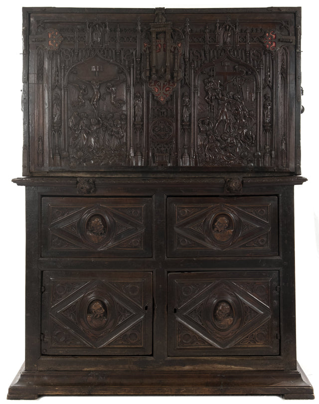 16th Century Spanish Vargueño Cabinet with Limoges Enamel Drawer Fronts