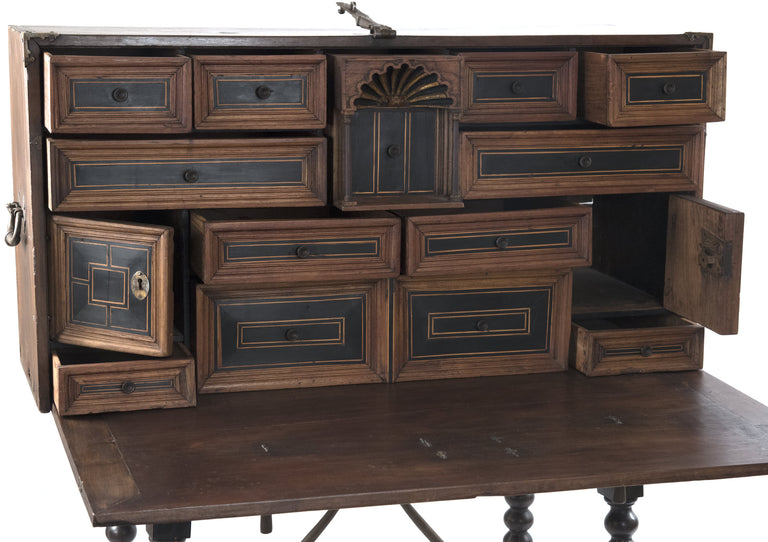 19th Century Spanish Walnut and Ebonized Wood Vargueno