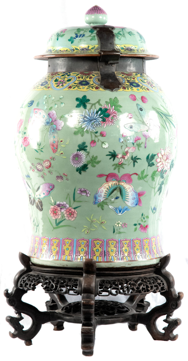 Qing Dynasty famille verte baluster vase with stand (c. 1860)