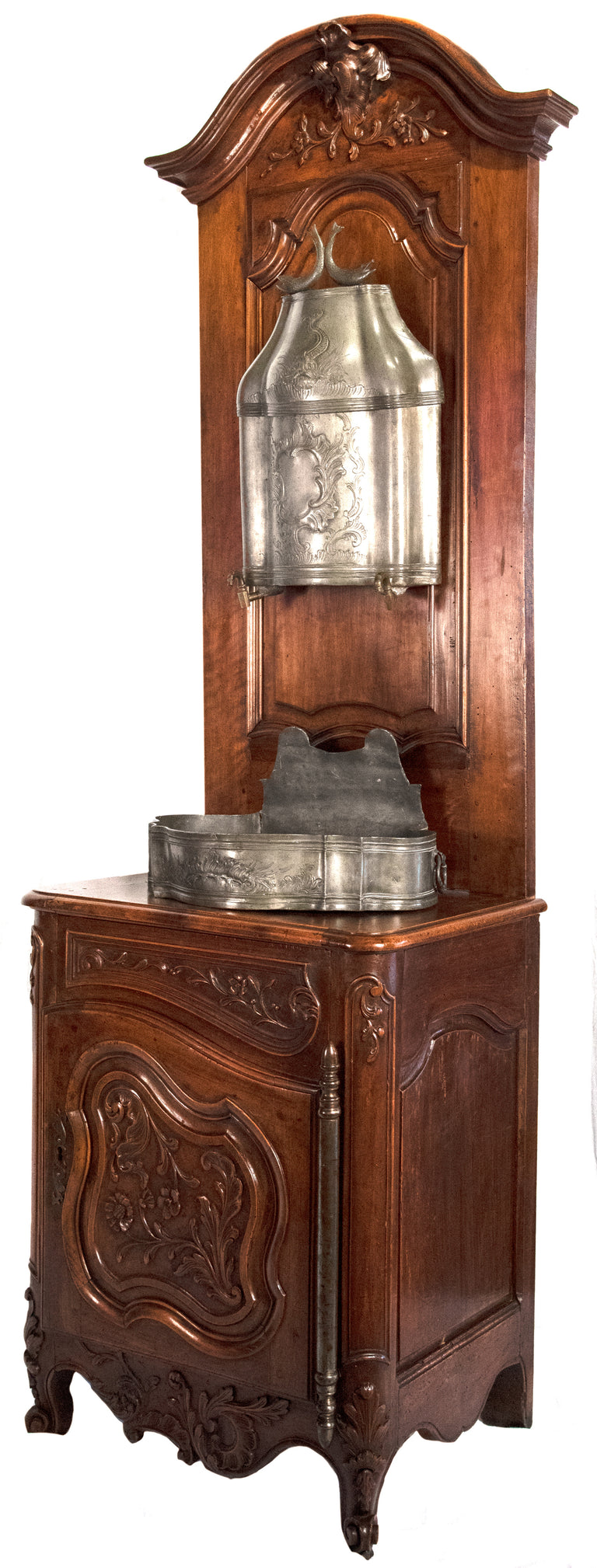 French Beaux-Arts carved walnut and wash stand (c. 1860)