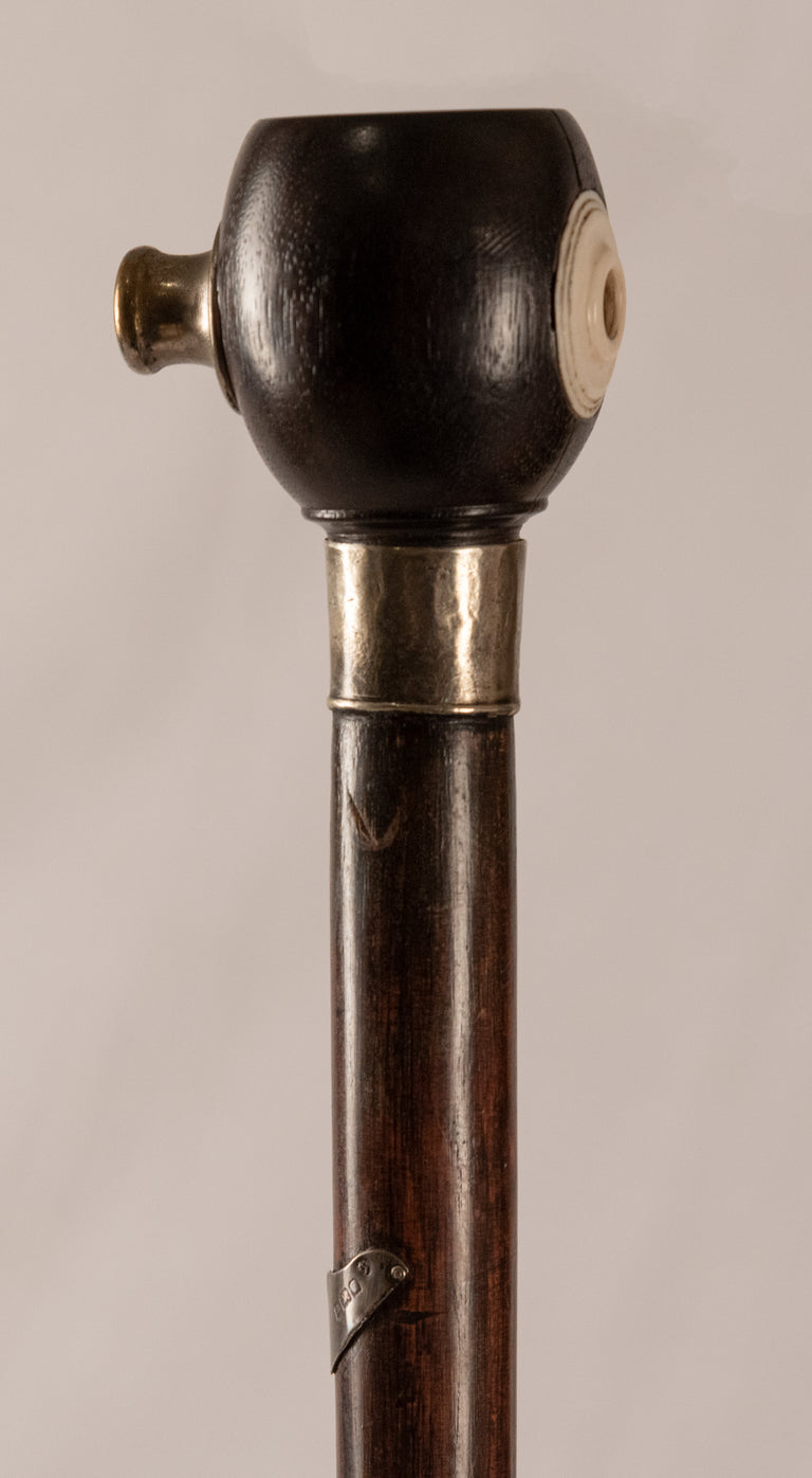Rosewood and Sterling Walking Stick with Penny Whistle (c. 1900)