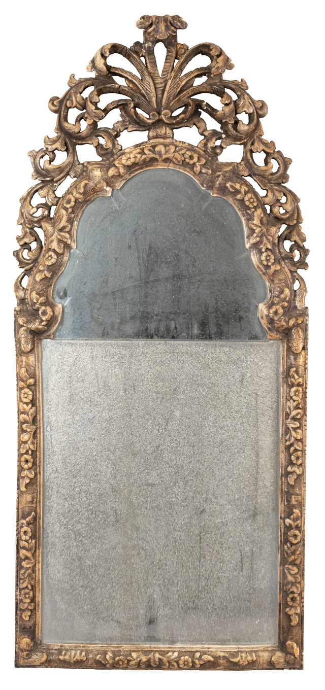 William and Mary Silvered Gesso Pier Mirror