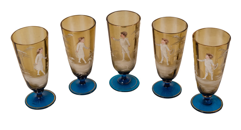 Mary Gregory Set of Blue and Amber Hand-Painted Art Glass