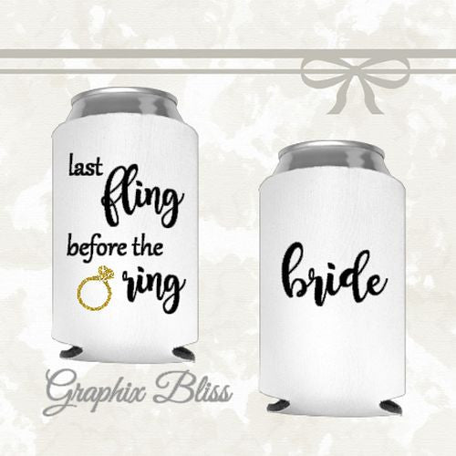 12+ Last Fling Before The Ring Bachelorette Party Custom Wedding Can Coolers