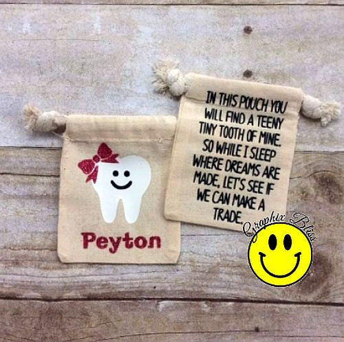 Personalized Tooth Fairy Bag Pouch Tooth Keeper For Boy Or Girl