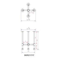 "H21"" ROUND - BKR21**** Pipe Legs KIT for Side Table"