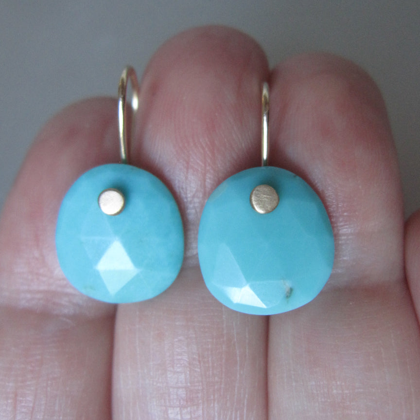 rose cut arizona blue turquoise drops solid 14k gold earrings5