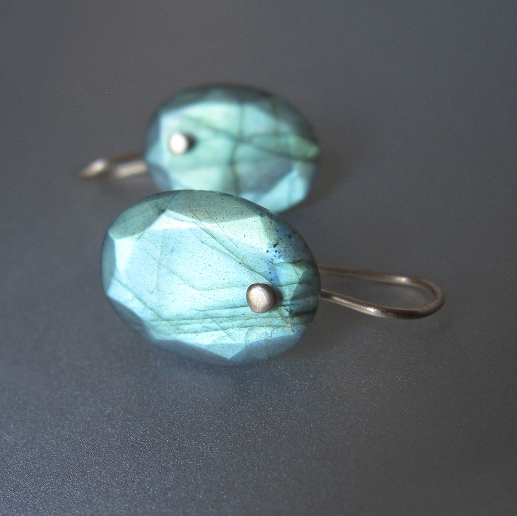 small oval green labradorite drops solid 14k gold earrings