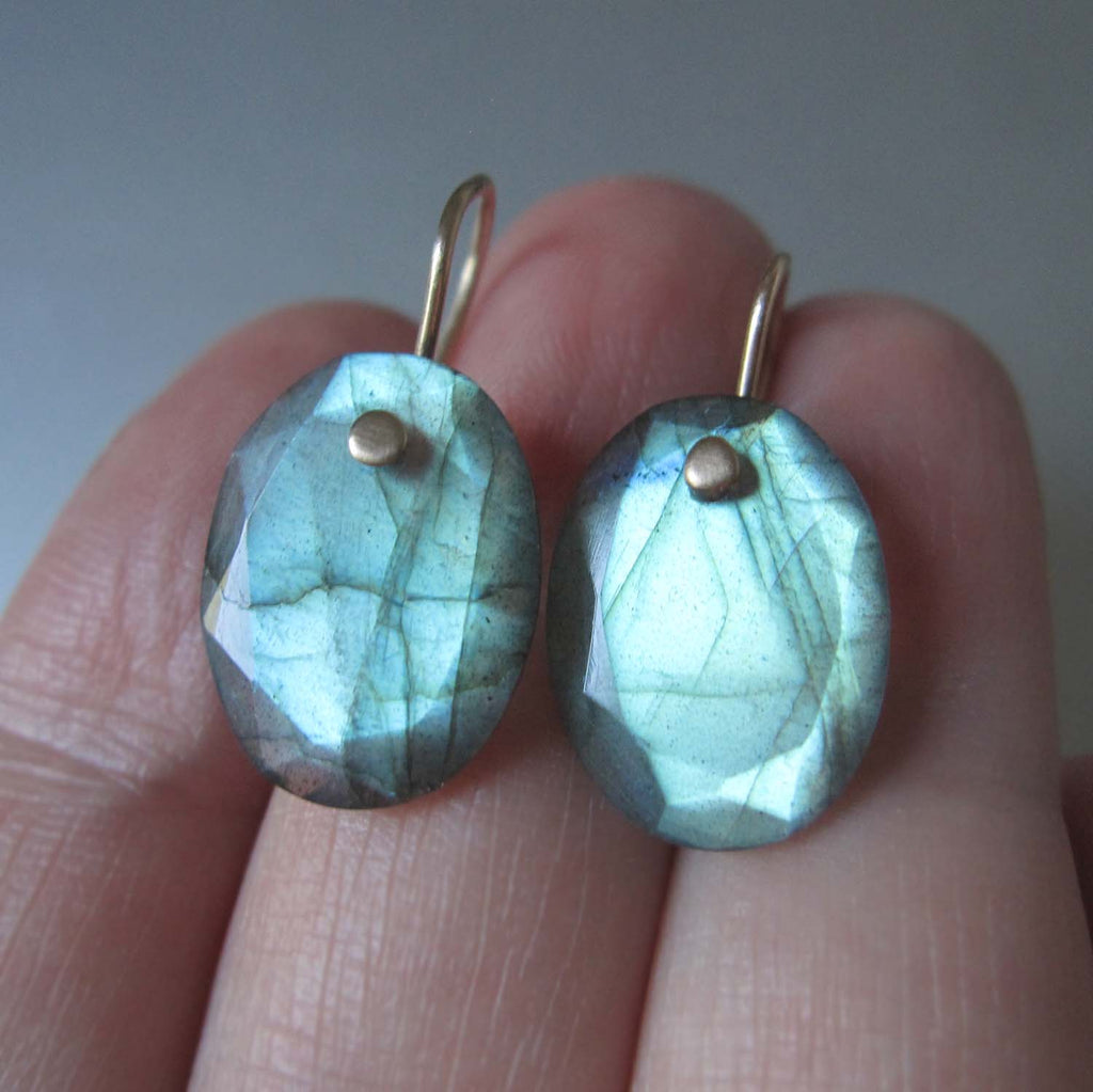 small oval green labradorite drops solid 14k gold earrings4