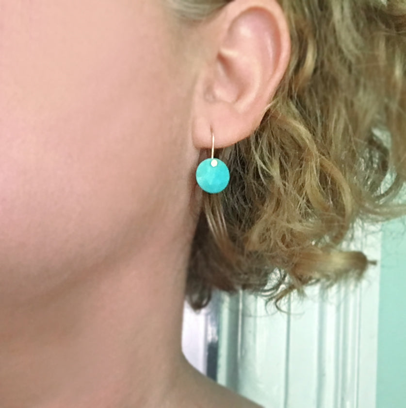 small rose cut turquoise disc drops solid 14k gold earrings6