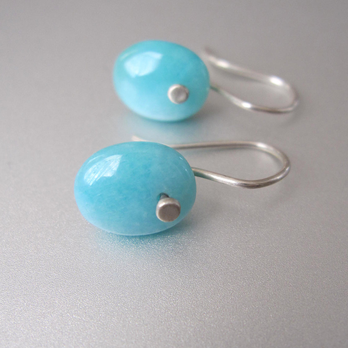 blue amazonite pebble drops sterling silver earrings