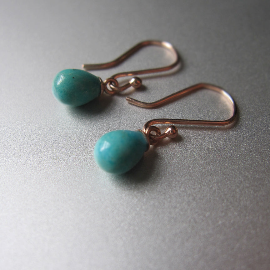 tiny turquoise drops capped in 14k rose gold solid gold earrings4