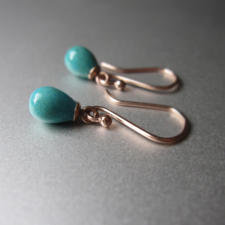 tiny turquoise drops capped in 14k rose gold solid gold earrings5