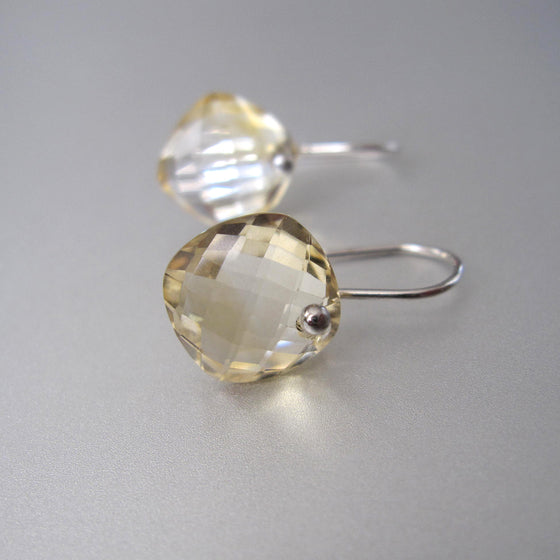 faceted citrine diamond drops sterling silver earrings