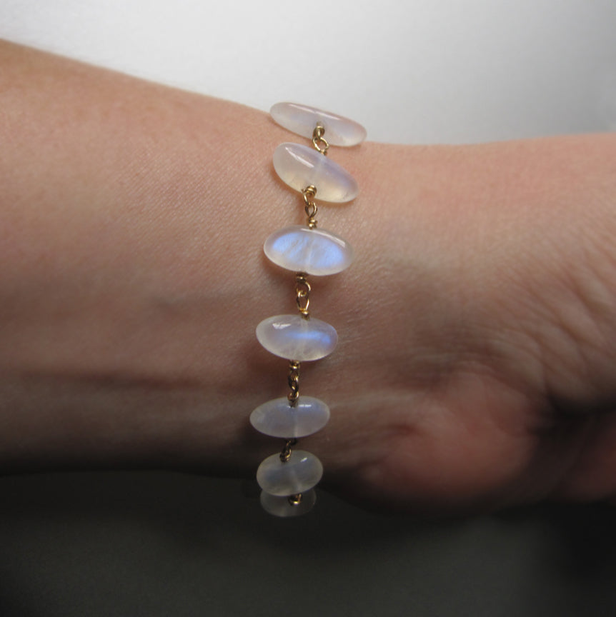 moonstone pebble solid 14k gold bracelet