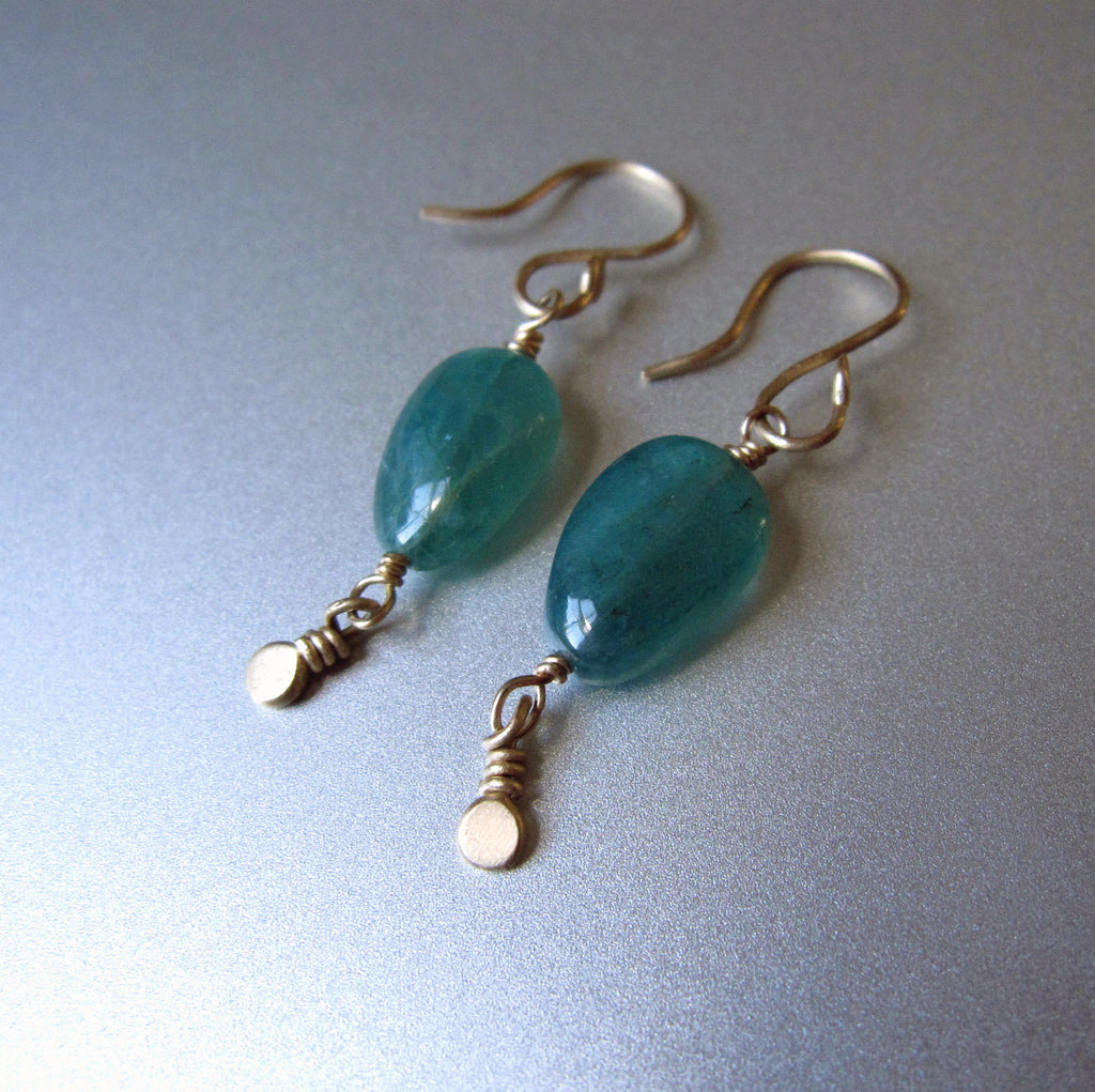 Grandidierite pebble beads with small gold disc dangles solid 14k gold earrings