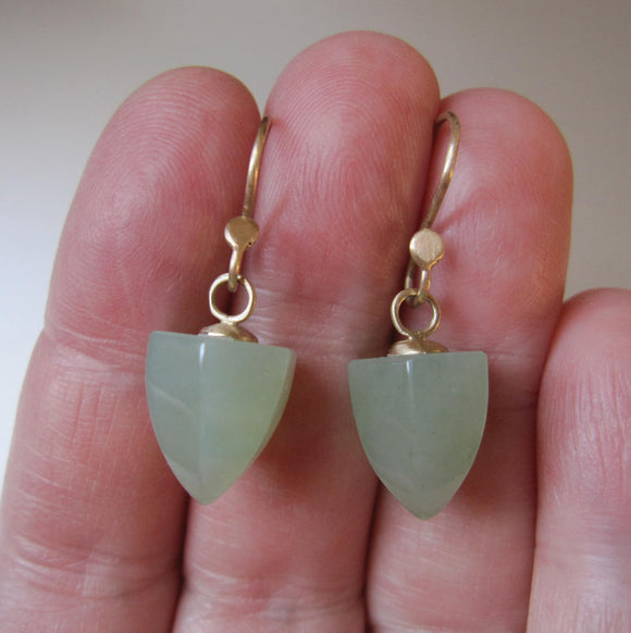 serpentine pointed faceted drops solid 14k gold earrings
