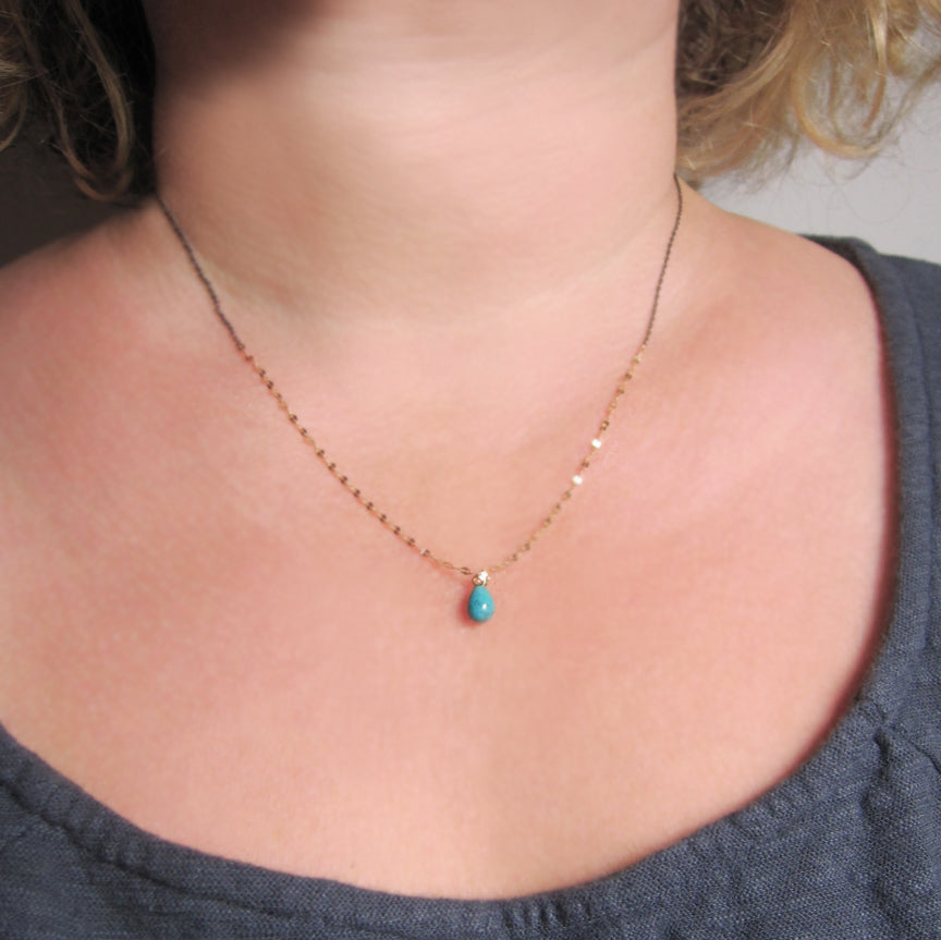 Mixed metals sterling and 14k yellow gold chain with small turquoise drop necklace3