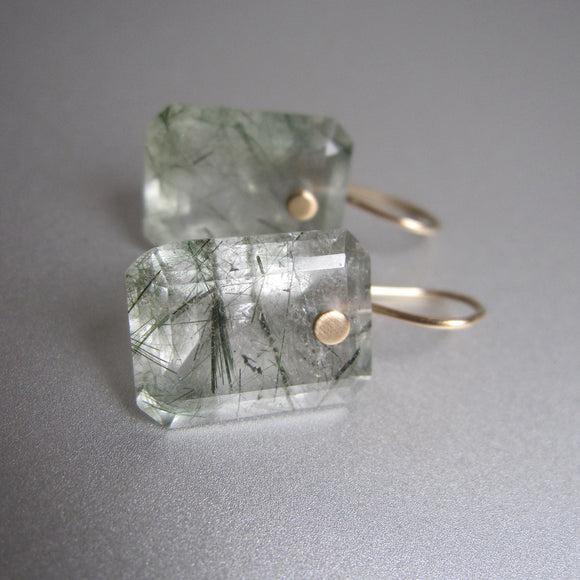 green tourmalinated emerald cut drops solid 14k gold earrings