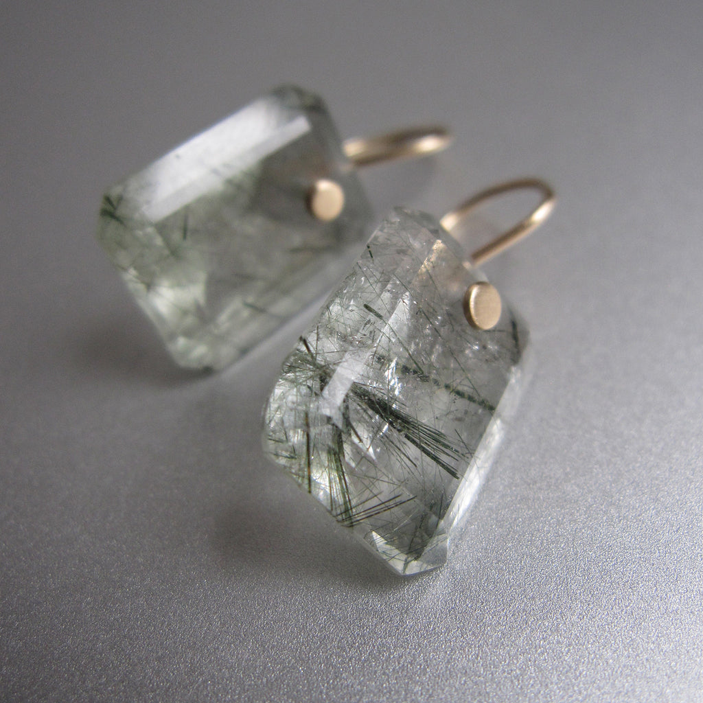 green tourmalinated emerald cut drops solid 14k gold earrings5