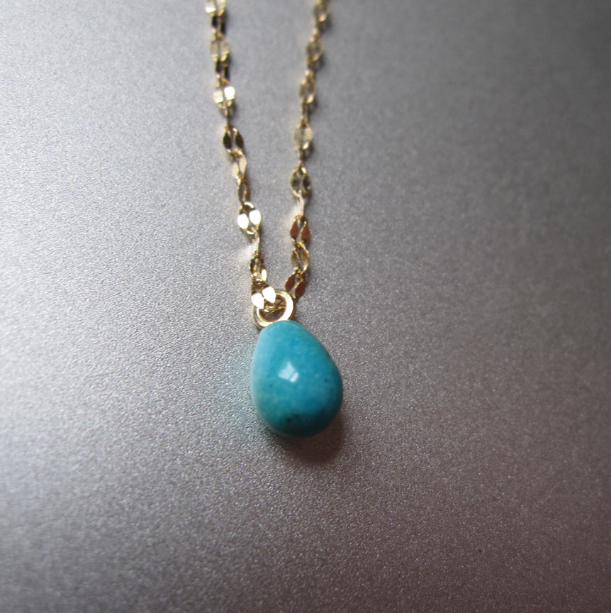 Mixed metals sterling and 14k yellow gold chain with small turquoise drop necklace
