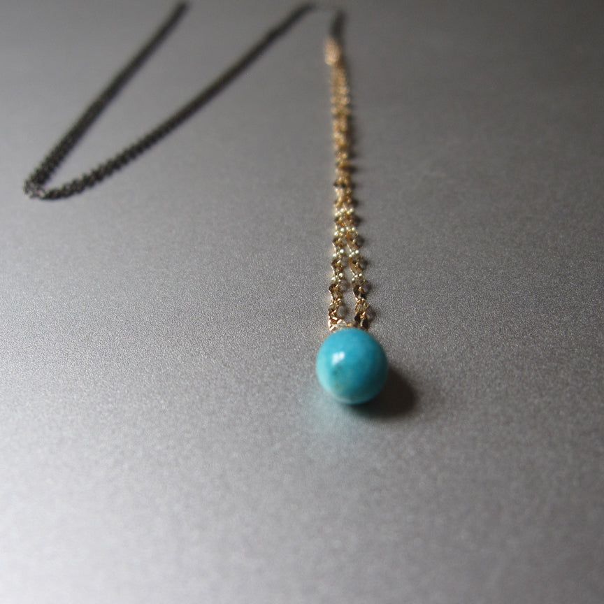 Mixed metals sterling and 14k yellow gold chain with small turquoise drop necklace2