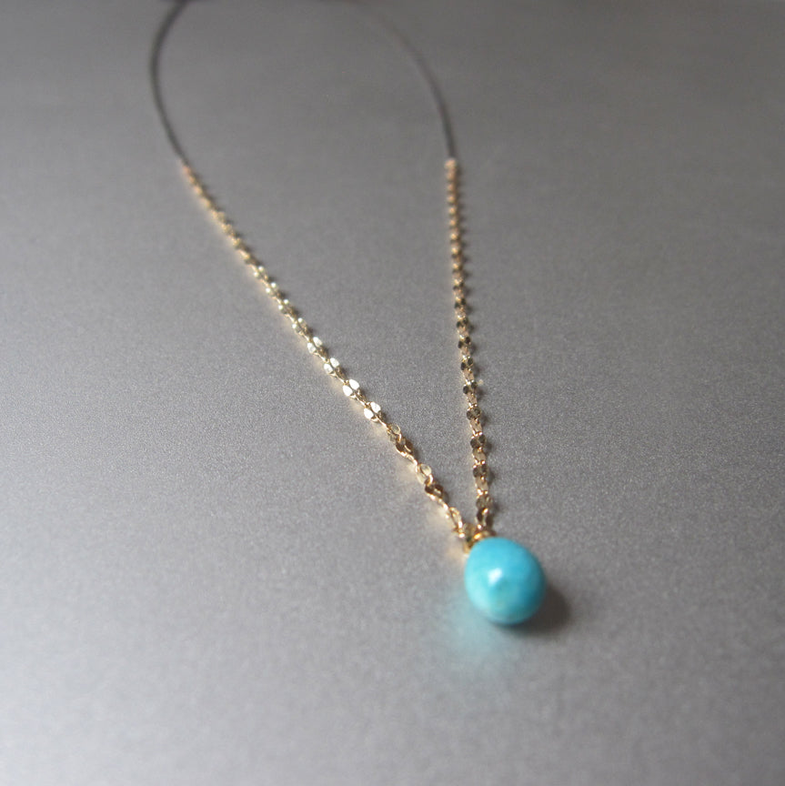 Mixed metals sterling and 14k yellow gold chain with small turquoise drop necklace5